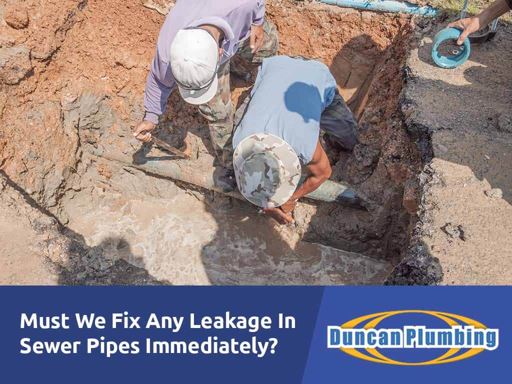 Must We Fix Any Leakage In Sewer Pipes Immediately?